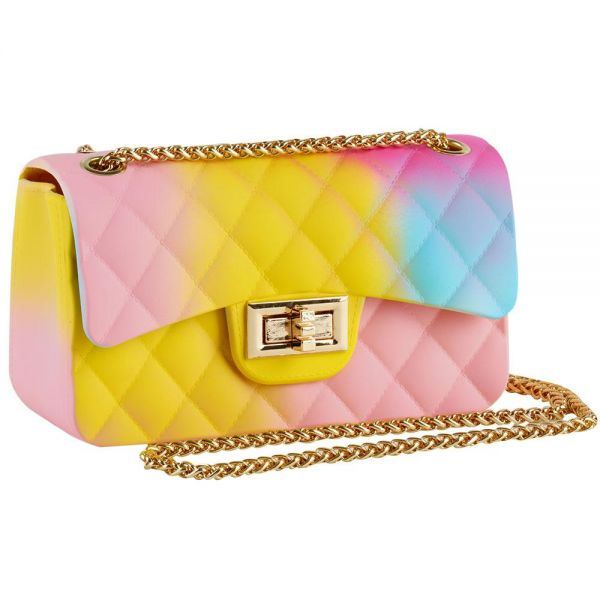 Rainbow Jelly Shoulder Bag for Women Rhombic Pattern Small (5 colors) BB 57