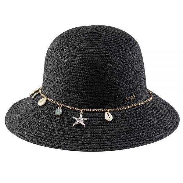 Women's Floppy Beach Sun Hat with Chain (Min Order 24 pcs -4 colors) FH 313