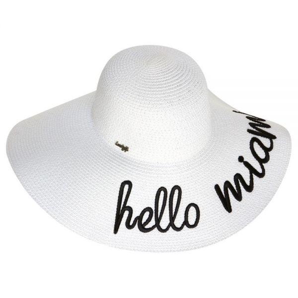 Women's Floppy Beach Sun Hat Hello Miami (Min Order 30 pcs -5 colors) SH 88 Hello Miami