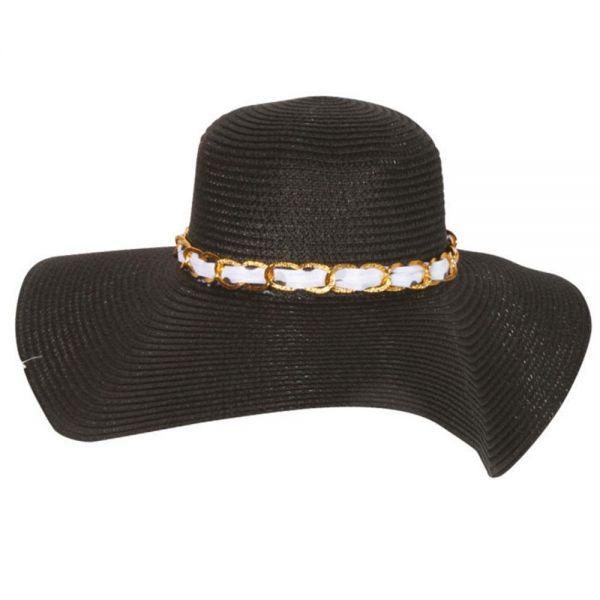Women's Floppy Beach Sun Hat with Chain (Min Order 24 pcs -4 colors) SH 21