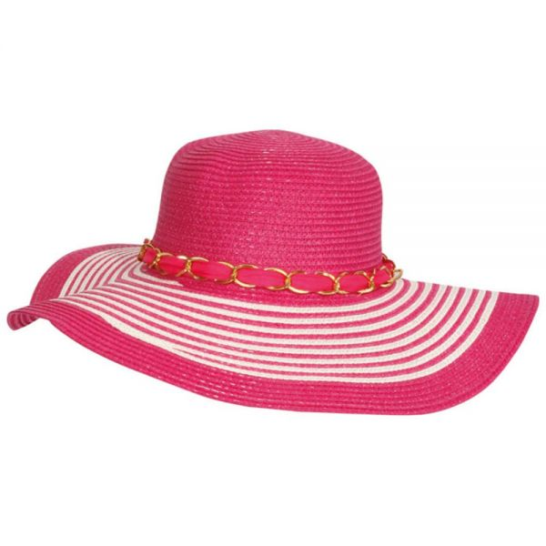 Women's Floppy Beach Sun Hat with Chain (Min Order 48 pcs -8 colors) SH 28