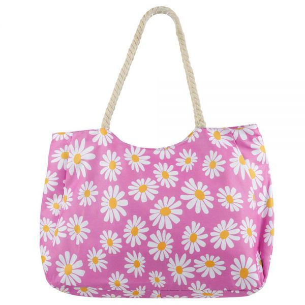 Beach Tote Bag Daisy Design with Rope Handle Zipper (4 colors) B 364D