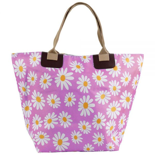 Beach Tote Bag Daisy Design with Canvas Handle Zipper (4 colors) B 365D