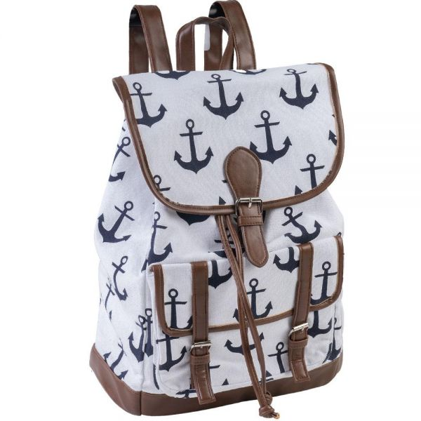 Anchor Printed Canvas Backpack (4 colors) B 564
