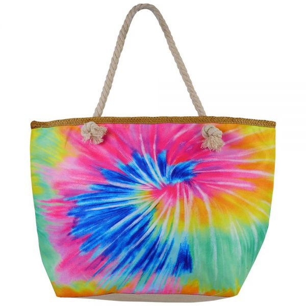 Beach Bag Canvas Printed Tote Bag with Rope Handle Zipper (9 colors) BB 44