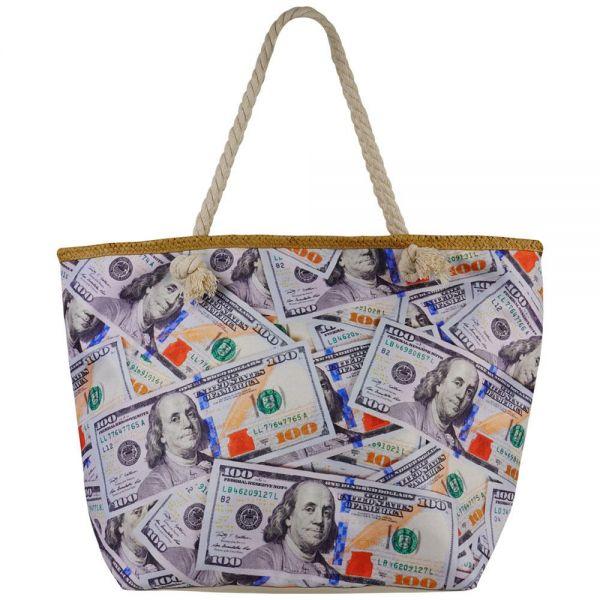 Beach Bag Canvas Printed Tote Bag Rope Handle Zipper (3 colors) BB 44