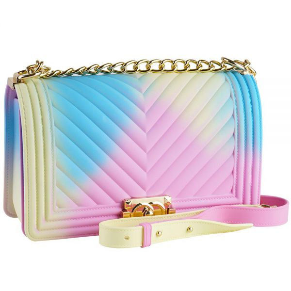 Rainbow Jelly Shoulder Bag for Women V Pattern Large (5 colors) BB 55-1
