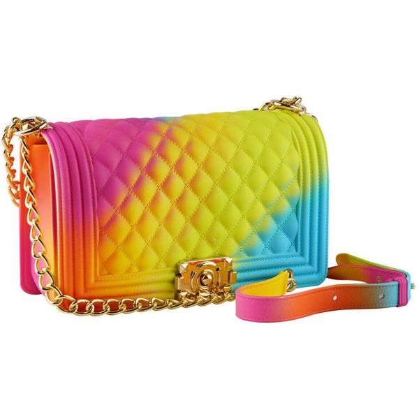 Rainbow Jelly Shoulder Bag for Women Rhombic Pattern Large (6 colors) BB 55