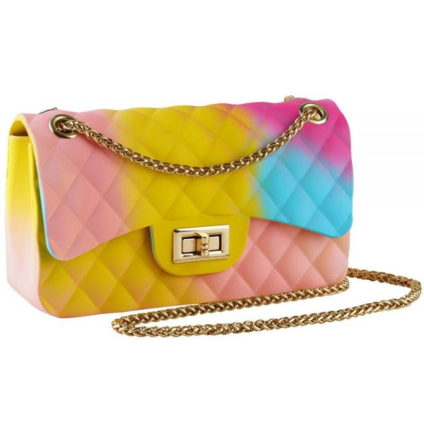 Rainbow Jelly Shoulder Bag for Women Rhombic Pattern Medium (5 colors) BB 56