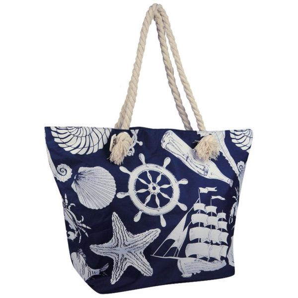 Large Polyester Beach Bag with Anchor Ocean Print (5 colors) BB 30-34