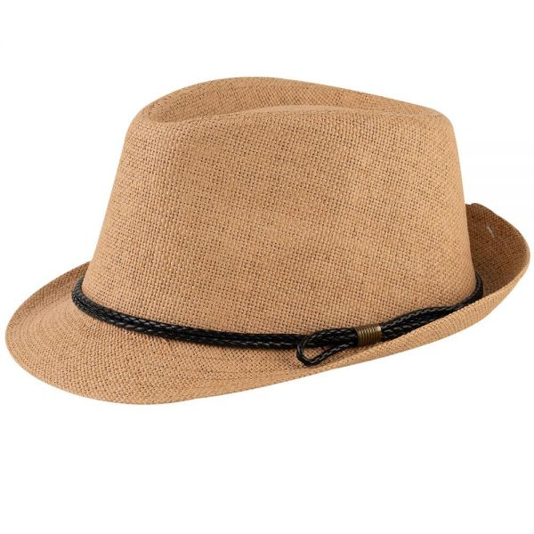 Straw Fedora Hat with Leather Band (3 COLORS) FH 55