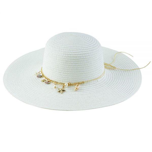 Women's Floppy Sun Hat with Chain (Min Order 30 pcs-5 colors) FH 305