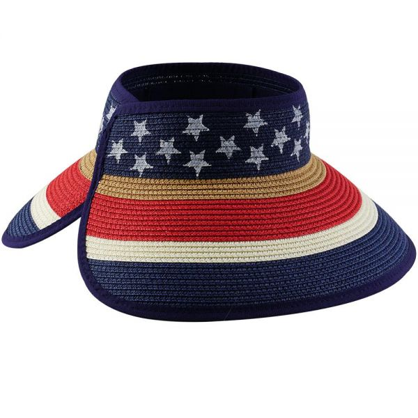 Foldable Roll Up Summer Beach Straw Sun Visor Hat Stars Print (1 color) FH 315