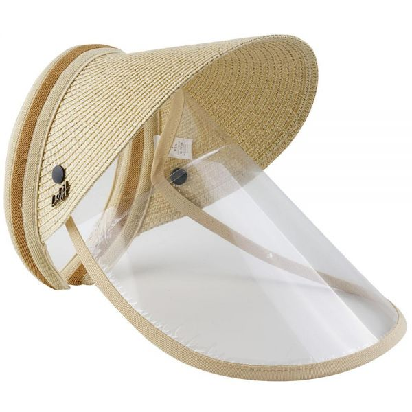 Straw Sun Visor Hat with Safety Face Shield Clear Visor (4 colors) FH 319