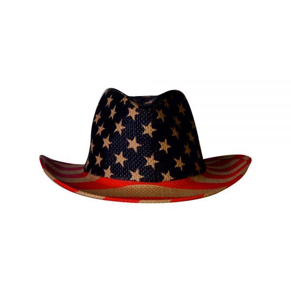 Cowboy Hat American Flag Print (1 color) YD 023
